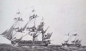 HMS Ambuscade (1773) - Pierre Ozanne's depiction of the captured Ambuscade towing the much-damaged Bayonnaise back to harbour; the difference in size between the ships is exaggerated