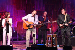 Vince Gill - Gill (right) with Amy Grant (left) and James Taylor at Tanglewood in 2011