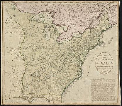 MAPA de la propuesta británica en el Acuerdo de paz estadounidense para permitir que el territorio estadounidense se extienda hacia el oeste hasta la mitad del río Mississippi.