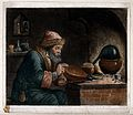 An alchemist at his furnace, hunched over bellows. Coloured Wellcome V0025548.jpg