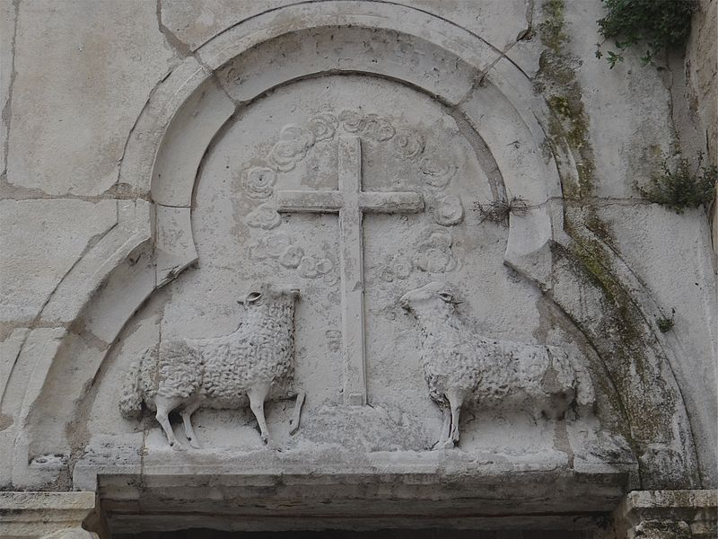 Church of Our Lady of Andance, Ardèche, France. Side of the pediment sculpture.