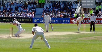 James Anderson (cricketer) - Anderson bowling during the second Test of India's tour of England in 2007. He opened the bowling with Ryan Sidebottom.