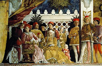 Barbara of Brandenburg, Marquise of Mantua - Andrea Mantegna- The Court of Mantua (1471–74, Fresco, 805 x 807 cm, Camera degli Sposi, Ducal Palace, Mantua, Italy). At the left, Ludovico III Gonzaga. Besides him Barbara of Brandenburg and three of their children.