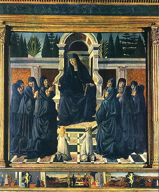 Francesco Botticini, Santa Monica in trono con le suore agostiniane, ante 1471, Basilica di Santo Spirito, cappella Bini, Firenze