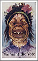 Anti suffragettes postcard (c. 1909) face of an ugly dimwitted woman with sharp teeth.jpg