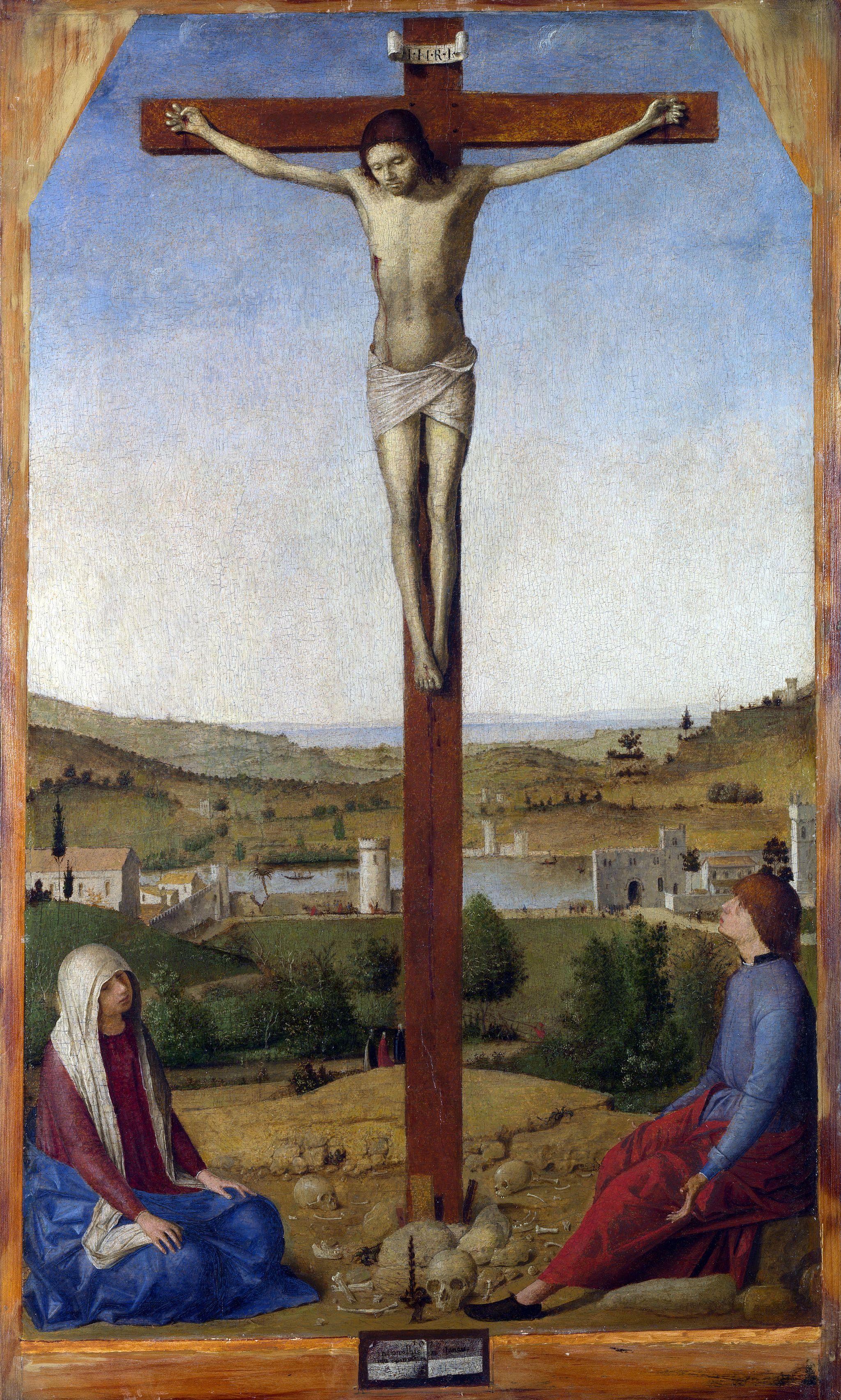 Antonello da Messina (1430–1479)  Crocifisso tra la Vergine dolente e san Giovanni, 1475, olio su tavola, 41,9×25,4 cm, Londra, National Gallery