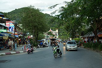 Ao Nang - Ao Nang main street, early evening.