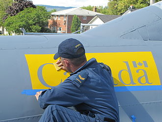 Aircraft Structures Technician - A CFSATE Student Applying Aircraft Stencils