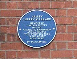 Photo of Apsley Cherry-Garrard blue plaque
