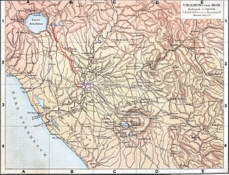 Aniene - An 1886 German map of the settlements, roads, and aqueducts around ancient Rome. The Anio is the principal left-hand tributary of the Tiber, joining it just north of Rome.