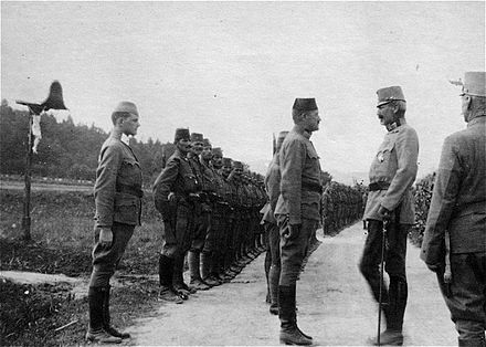 Recruits from Bosnia-Herzegovina, including Muslim Bosniaks (31%), were drafted into special units of the Austro-Hungarian Army as early as 1879 and were commended for their bravery in service of the Austrian emperor, being awarded more medals than any other unit. The jaunty military march Die Bosniaken Kommen was composed in their honor by Eduard Wagnes. Archduke Eugen Bosniaks.jpg