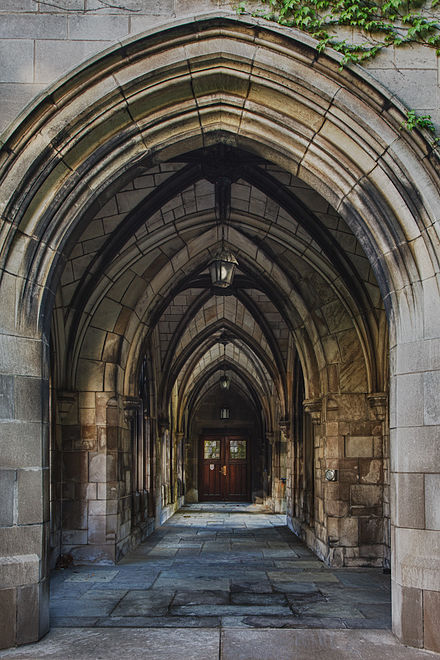 The archway between Bond Chapel and Swift Hall, home of the university's Divinity School Archway at the University of Chicago.jpg
