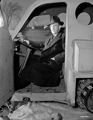 Joseph-Armand Bombardier - Bombardier in his B-12 snowbus