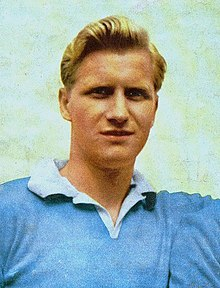 Swedish footballer Arne Selmosson with S.S. Lazio in 1955–56 season.