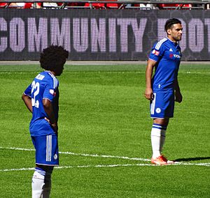 2015 FA Community Shield - Chelsea's Willian (left) and Radamel Falcao, who made his professional debut for the club.