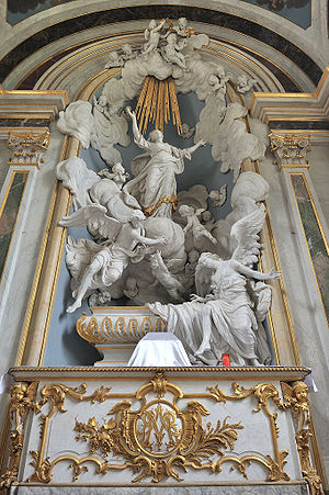 Assomption de la Vierge, baroque sculture in the abbaye of Mondaye, Normandie, France