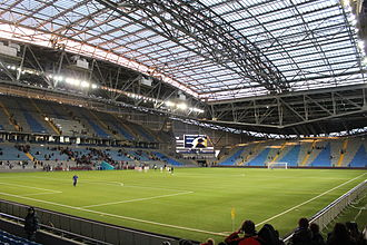 Astana Arena - View from the Southeast stands.