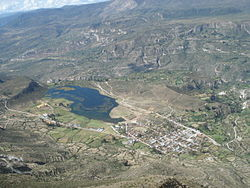 The lake named Quchapampa and the village of Aucara in the Lucanas Province