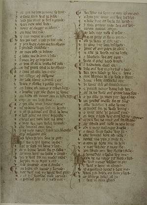 Auchinleck manuscript - A page from the manuscript.