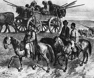 Slavery in Romania - Nomadic Roma family traveling in Moldavia, Auguste Raffet, 1837