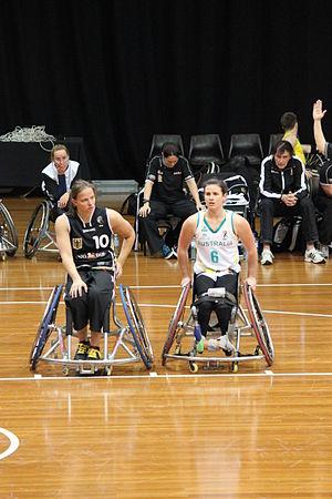 Gesche Schünemann - Schünemann (left) with Australia's Bridie Kean (right) in Sydney in July 2012. Neither uses a wheelchair off the basketball court.