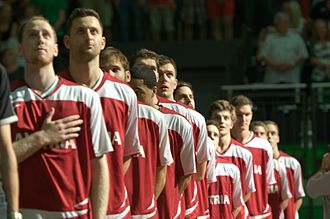 Austria national basketball team - Austria national team before game