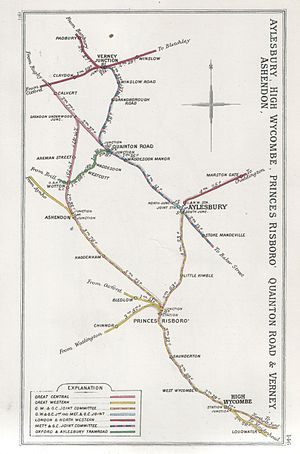Winslow railway station - A 1911 Railway Clearing House map of railways in the vicinity of Winslow