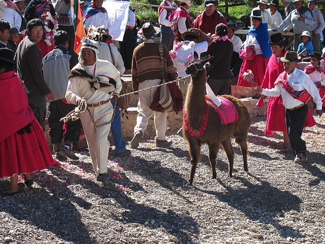 Photos of a traditional Aymara ceremony in Copacabana, on the border of Lake Titicaca in Bolivia. (wikicommons)