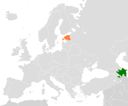 Map indicating locations of Azerbaijan and Estonia