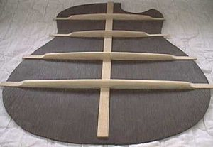 Guitar bracing - Image: Back bracing 2