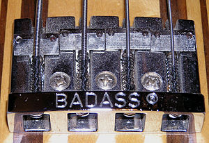Bridge (instrument) - Badass Bridge on a Martin EB18 Bass guitar C.F. Martin & Company