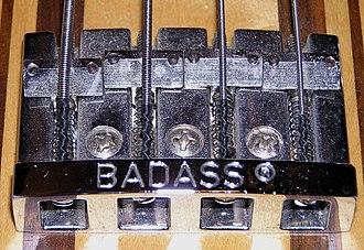 Bridge (instrument) - Badass Bridge on a Martin EB18 Bass guitar C.F. Martin & Company
