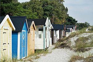 Beach hut - Beach huts by the Baltic sea in Höllviken, Sweden.