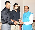Badminton Player Srikanth Kidambi along with Pullela Gopichand calling on the Minister of State for Youth Affairs and Sports (IC), Water Resources, River Development and Ganga Rejuvenation, Shri Vijay Goel, in New Delhi.jpg