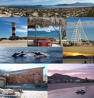 From top down: Panorama of the Bahia, Punta Areanas Lighthouse, Harbor View, Sail Sculpture, Dolphins, Sunrise over Cabeza de Caballo, Museo de Naturaleza y Cultura, Sunset behind Sierra de San Borja