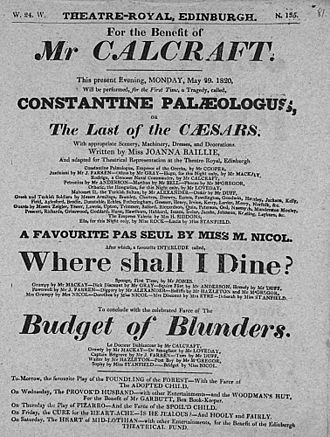 Joanna Baillie - Playbill for Joanna Baillie's The Last of the Caesars; or, Constantine Palaeologus at the Theatre Royal Edinburgh, 29 May 1820