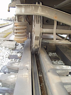 Retarder (railroad) - The retarders grip the sides of the wheels on passing cars to slow them down.