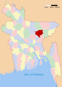 Location of Kishoreganj in Bangladesh