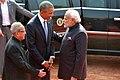 Barack Obama being welcomed by the President, Shri Pranab Mukherjee and the Prime Minister, Shri Narendra Modi on his arrival at Ceremonial Reception, at forecourt of Rashtrapati Bhavan, in New Delhi on January 25, 2015.jpg