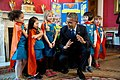 Barack Obama talks with Emily Bergenroth, Alicia Cutter, Karissa Cheng, Addy O'Neal, and Emery Dodson, 2015.jpg