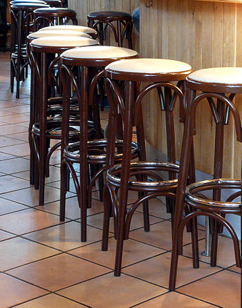 Some wooden bar stools