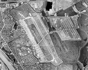 Aerial photo mosaic of Barksdale AFB in Bossie...