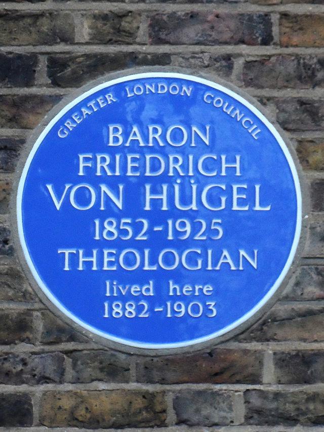 Friedrich Von Hügel blue plaque - Baron Friedrich Von Hügel 1852-1925 theologian lived here 1882-1903
