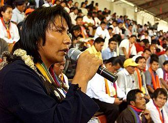 Confederation of Indigenous Nationalities of Ecuador - Bartolo Ushigua, Zapara delegate at the 2nd CONAIE congress