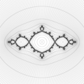Basilica Julia set, level curves of escape and attraction time, external rays.png