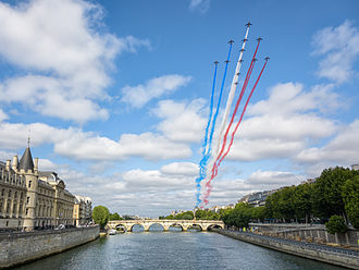 Patrouille de France - Alpha Jets flying over Paris during Bastille Day.