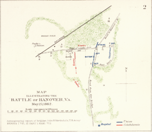 Battle of Hanover Court House - Map Illustrating the Battle of Hanover, Virginia.