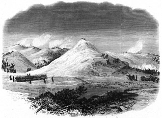 Battle of Wolf Mountain - A photoprint of an illustration of the Battle of Wolf Mountain that appeared in the  May 5, 1877 edition of Frank Leslie's Illustrated Newspaper