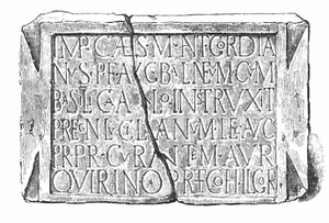 Longovicium - Building dedication (bath) to Emperor Gordian III from Cohors I Lingonum found in Lanchester