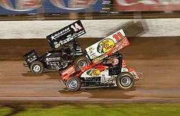Sprint cars on dirt track at Baypark Stadium in Tauranga